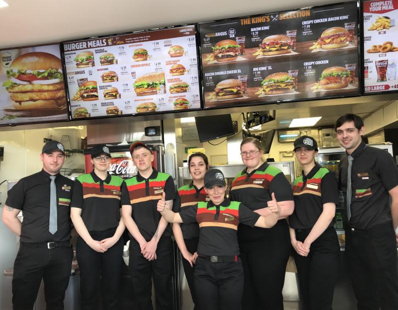 Team members at the newly refurbished Burger King at Battlefield, Shrewsbury