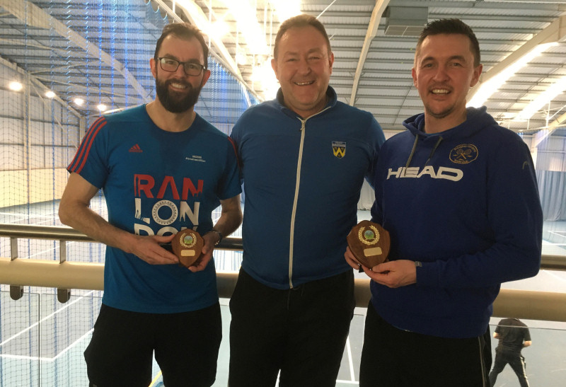 Tennis Shropshire chair Simon Jones, centre, with, left, over-35s runner-up Dean Thomas and, right, champion Dean King