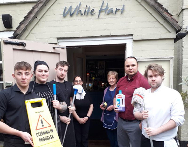 Staff at the White Hart in Ironbridge