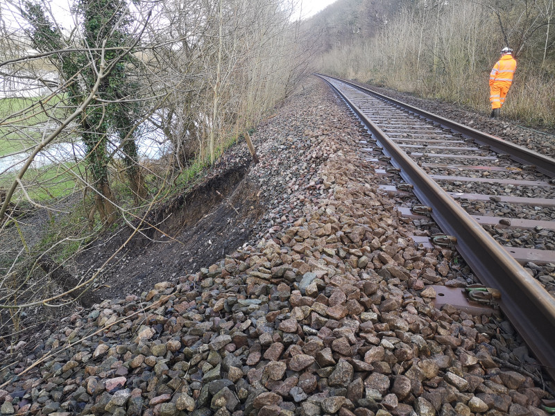 Emergency repairs will be made to an embankment on the railway following storm damage. Photo: Network Rail