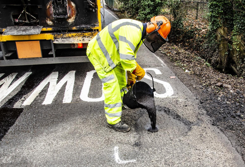 A pothole being treated using the new Texpatch material. Photo: Shropshire Council