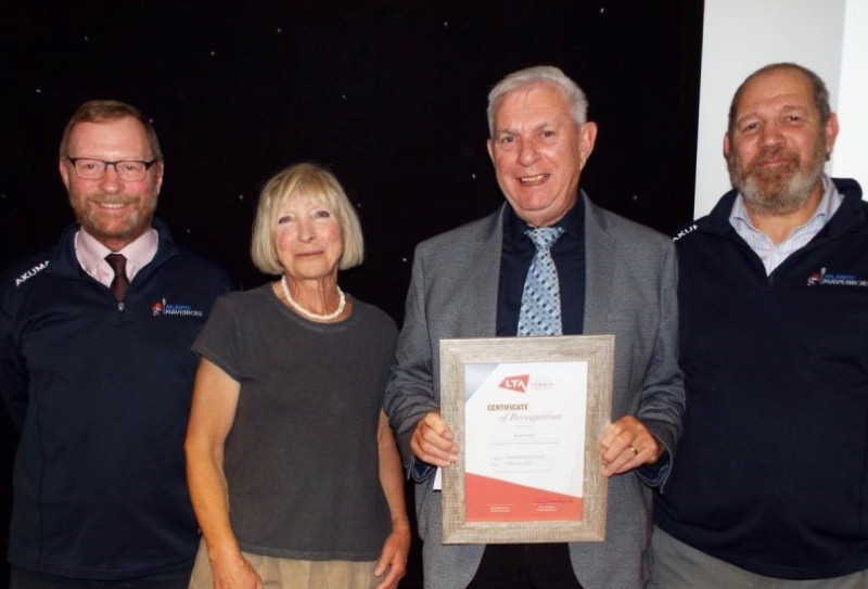Keith Smith from Newport's Boughey Gardens Tennis Club, third right, received his lifetime achievement award from Tennis Shropshire president Jilly Broadbent, together with Roy Dixon and Ian Davies from Atlantic Mavericks, in November. He is now one of three Shropshire winners of a regional LTA Award