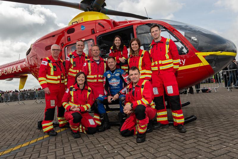 Former British Superbike Champion, Neil Hodgson with Midland Air Ambulance critical care paramedics