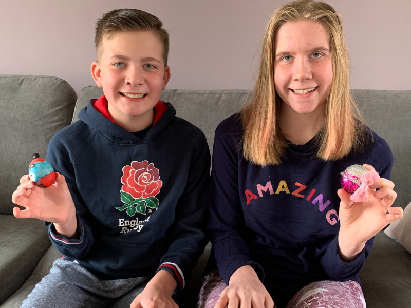Sam and Lucy Knight with their decorated eggs