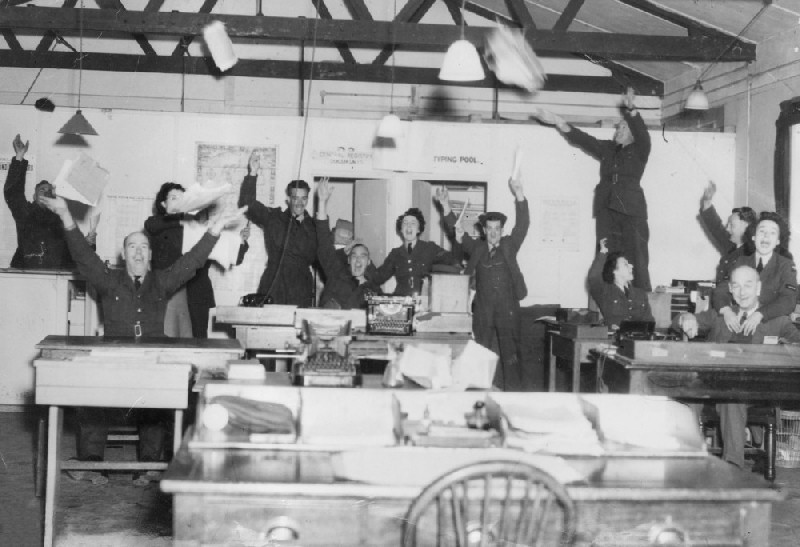 The Orderly Room celebrating Victory in Europe at RAF Andover. Photo: RAF Museum