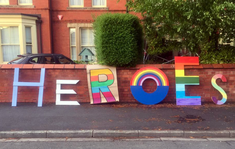 HEROS spelt out in New Church Road in Wellington