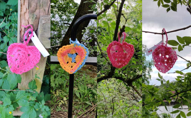 Crochet hearts have been appearing on popular walking routes around Telford
