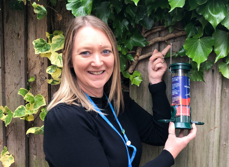 Claire Flavell, Director of Care at Bluebird Care, with the Bird feeder package, ready to take to customers