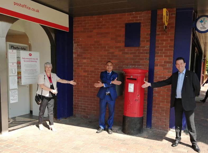 Time to shake on the deal...well, almost! New Post Office tenant Balvir Randhawa socially distances from Madeley mayor Councillor Sarah Chadwick and Telford & Wrekin Council cabinet member Councillor Paul Watling