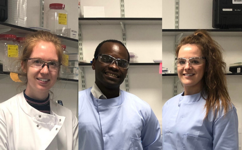 From left,  Final year Keele PhD student Mairead Hyland; Dr John Garcia and  Dr Jade Perry, Keele University Researchers based at RJAH