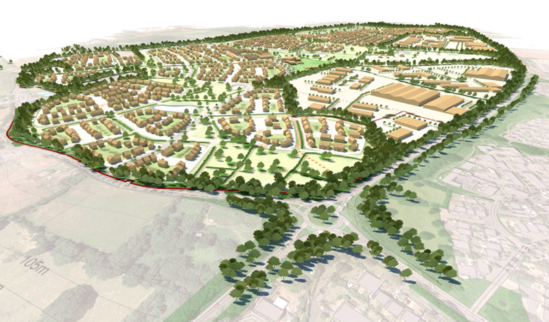 The proposed Garden Village on land south of the A458 and west of Ludlow Road, Bridgnorth