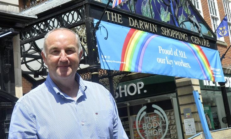 Kevin Lockwood, Shrewsbury shopping centres manager, outside the Darwin Shopping Centre. Photo: Shropshire Council