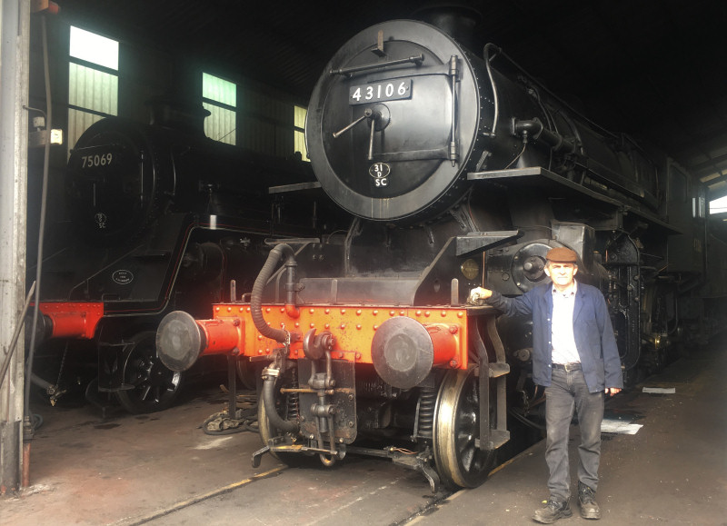 Shed master Martin White with LMS Ivatt Class 4 No 43106, one of the mothballed locomotives. Photo: Lesley Carr