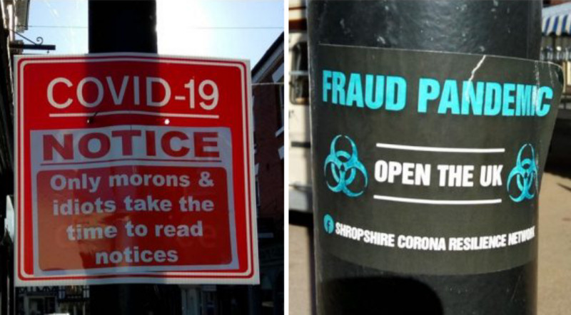A sign that has been defaced and a poster left by activists in Ludlow. Photo: Shropshire Council