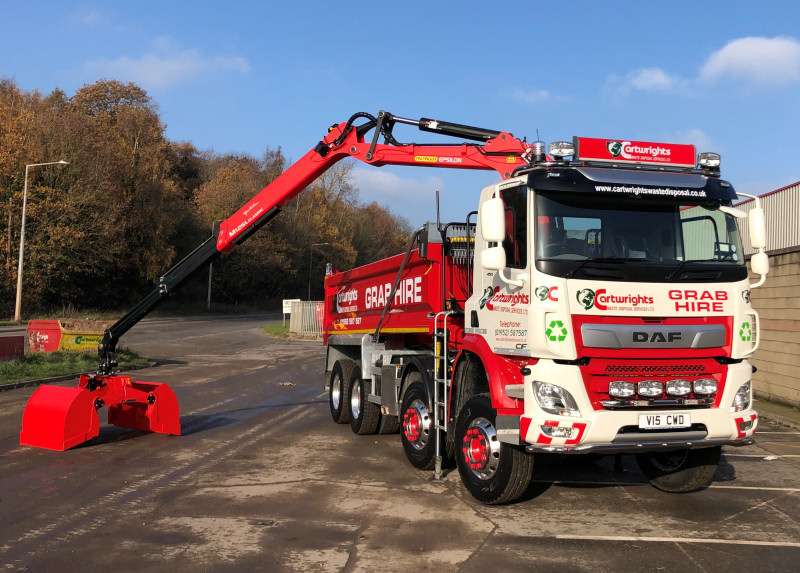 The new grab lorry has been added to Cartwrights fleet of vehicles