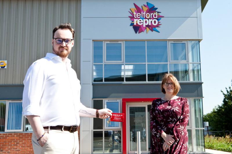 Alex Llewellyn, Managing Director Telford Reprographics, Liz Lowe, Head of Estates at Morris Property