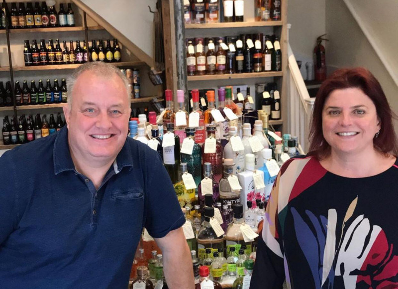Derek and Maria Bowen, at the shop, Moonshine & Fuggles, which they took on at the end of June