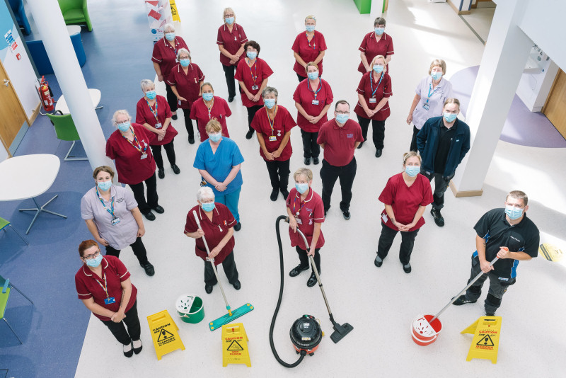 Members of the Trust's Housekeeping team celebrating after finding out the wards and side rooms were rated the cleanest in the country by patients