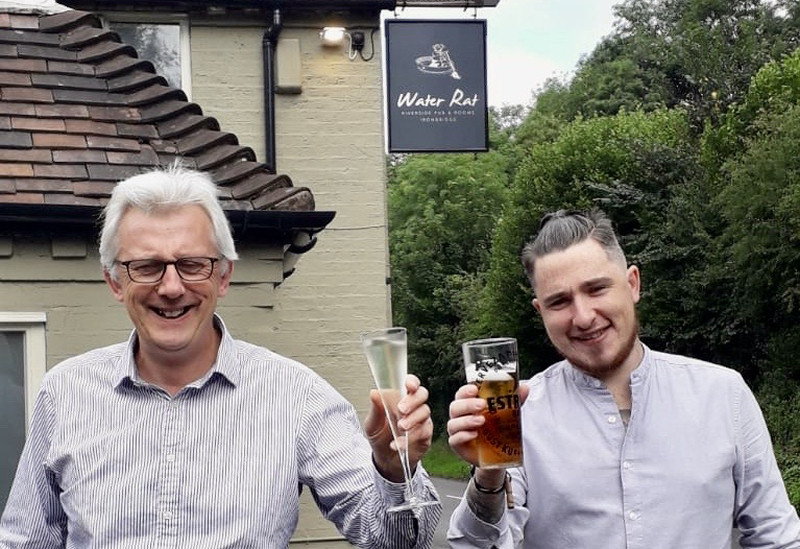 Pictured outside the Water Rat Inn Ironbridge are Alex Nicoll and Manager Lee Howard