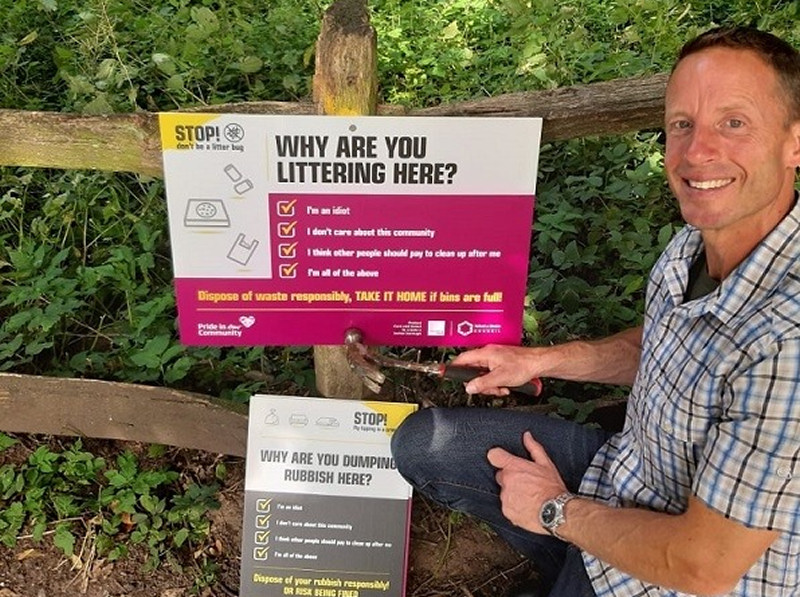 Signs are going up in locations across the borough urging people to dispose of their litter responsibly. Photo: Telford & Wrekin Council