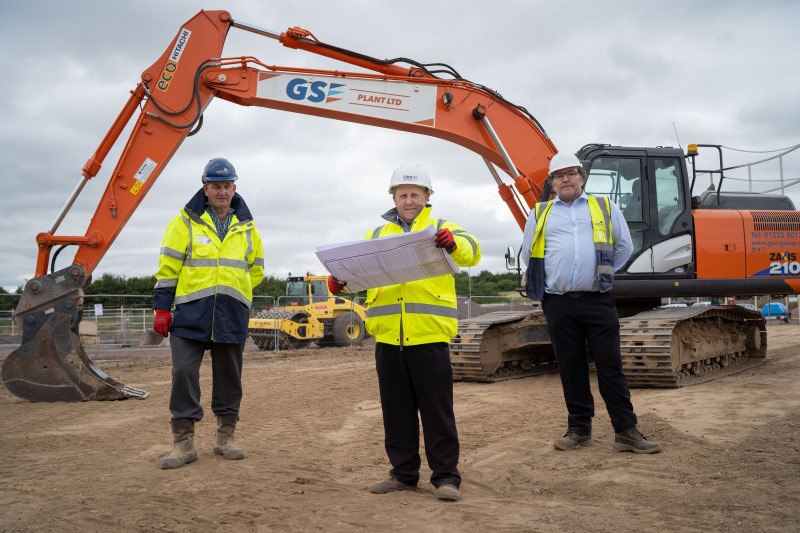 Work has started to build Shrewsbury's newest care home, pictured are Paul Bees (Castleoak), Peter Griffiths (Care UK) and Matt Villis (Castleoak)