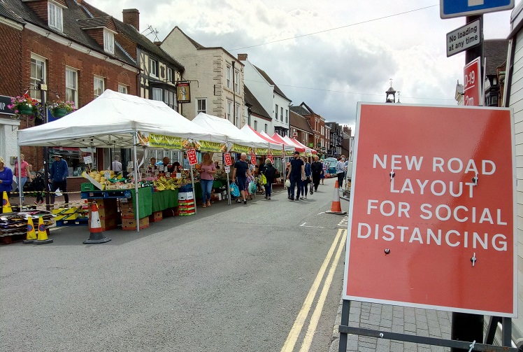 Bridgnorth market with social distancing in place. Photo: Shropshire Council