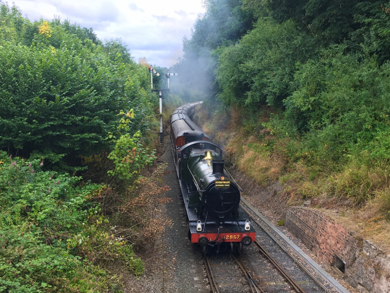 The first service of the day, hauled by GWR 2857, approaches Arley. Photo: Ryan Green