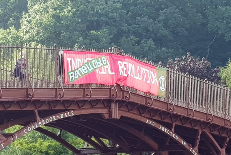 A banner was hung from the Ironbridge as part of the UK-wide banner drop. Photo: @telford_xr