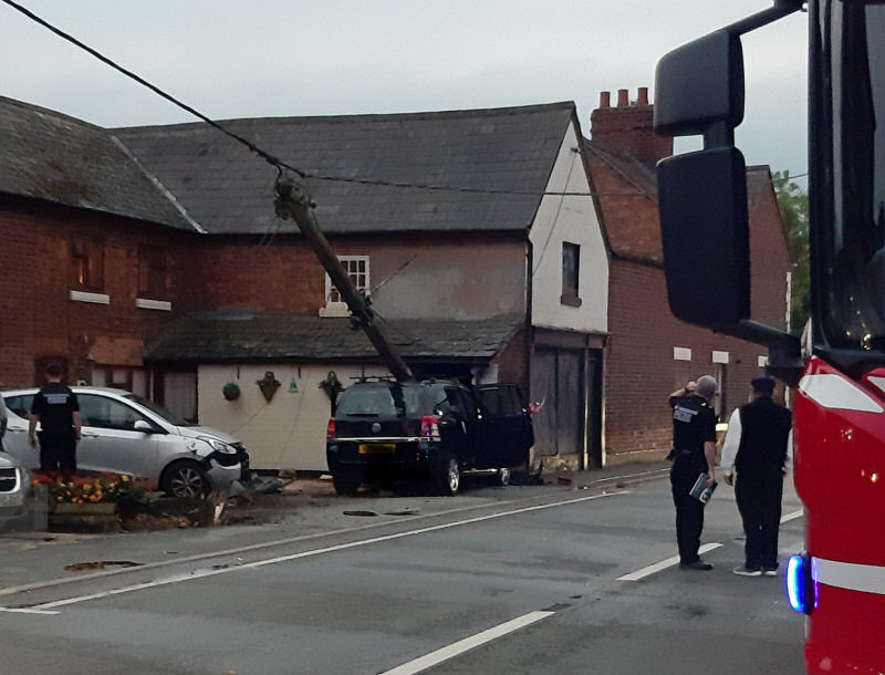 The scene of the collision on Shrewsbury Road in Hadnall. Photo: @OPUShropshire via twitter