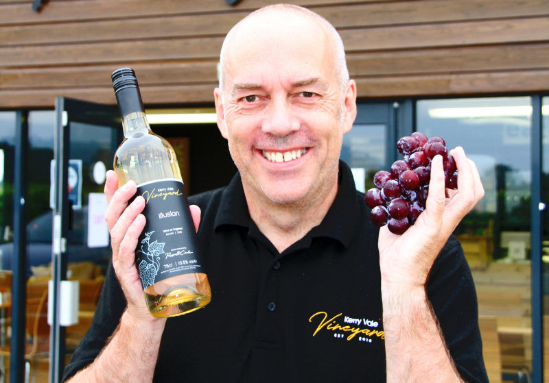 Owner Russell Cooke with the new special edition wine