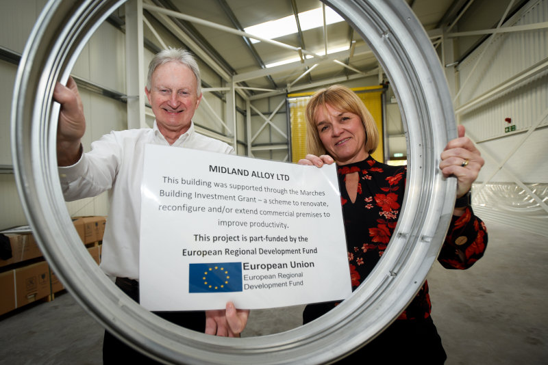 MBIG programme manager Caroline Cattle with Paul Beirne of Midland Alloy