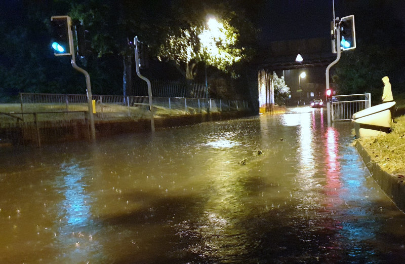 Mount Pleasant Road in Shrewsbury flooded after drains could cope with the rainwater. Photo: John Davidson / @jdflatty