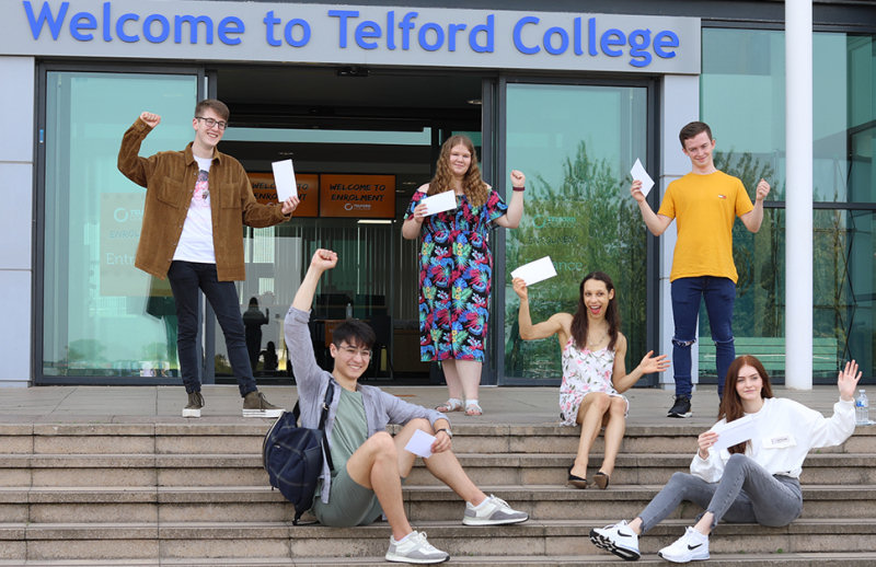 Preparing to discover their A level grades at Telford College are, top from left, Tom Ollivier, Faye Oliver and Matthew Thomas, with bottom row from left, Yuki Tanaka, Megan Davenport, and Fiona Robinson