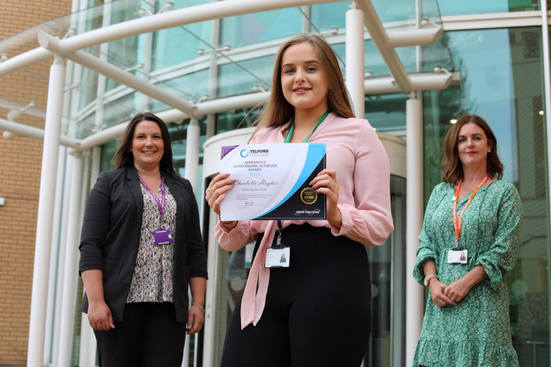 Charlotte Hughes pictured with trainer/assessor Janna Reynolds, and Wrekin Housing Group's HR manager Madeline Murphy