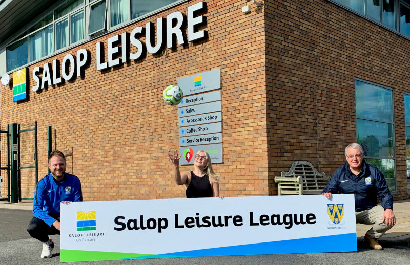 All ready for the start of the new Salop Leisure Football League season are the Shropshire FA's Darren Beech, left, and Dave Simpson, with Salop Leisure's Emily Buxton