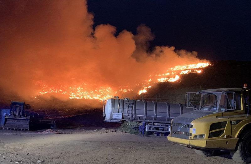 The scene of the fire at the landfill site. Photo: James Bainbridge / @SFRS_JBainbr
