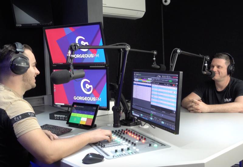 Breakfast presenter James Levett (left) in the Gorgeous FM studio