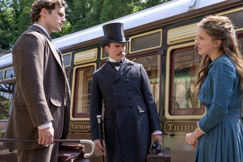 Henry Cavill, Sam Claflin and Millie Bobbie Brown filming at Severn Valley Railway. Photo: Netflix