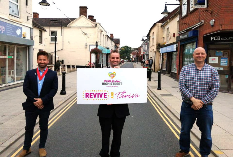 Councillor Ian Preece, the deput mayor of Great Dawley, Councillor Stefan Heighway, the mayor of Great Dawley, and Councillor Lee Carter, Telford & Wrekin Council's cabinet member for Neighbourhood, Commercial Services and Regeneration at the launch of the Revive and Thrive Fund. Photo: Telford & Wrekin Council