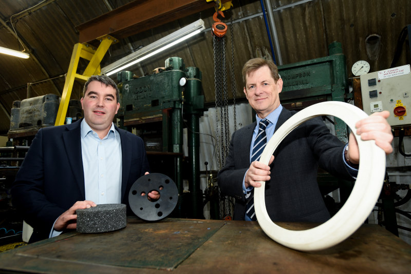 Robert Oakes, Director of DKL Rubber Ltd  with Stuart Rea of FBC Manby Bowdler