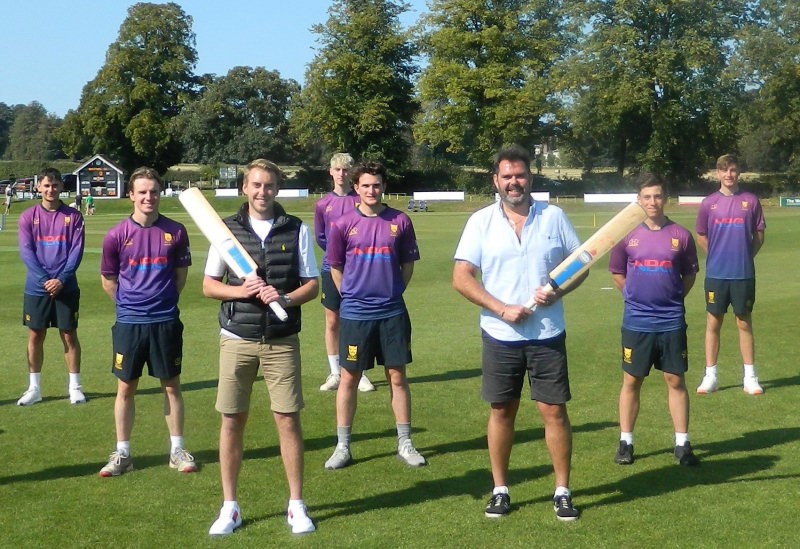 Shropshire Academy cricketers line up in their new training kit with Brad Thornton, front left, the NBC Group's head of purchasing, and company director Peter Thornton