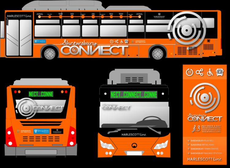 An artist's impression of how the Shrewsbury Connect buses and branding may look