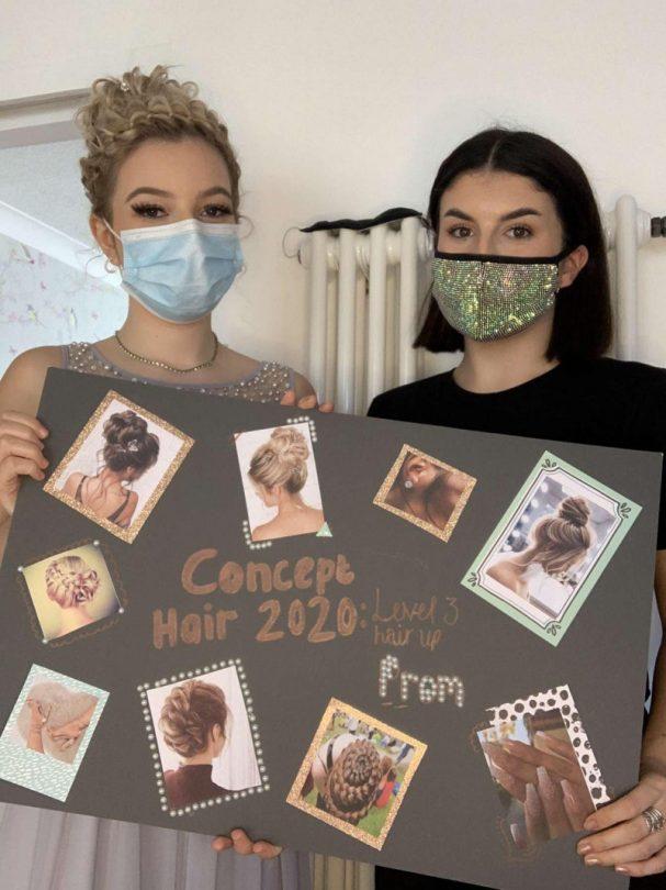 Lauren Hobbs, 19, Shrewsbury is pictured with her winning hairstyle creation