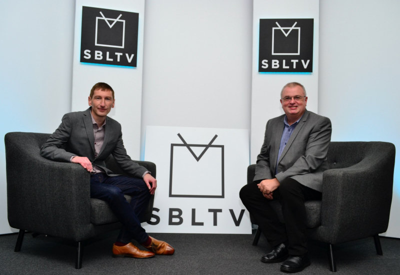 Chris Pritchard, editor of Shropshire Live and Carl Jones, editor of Shropshire Business pictured in the new SBLTV studio based at Yarrington in Shrewsbury.