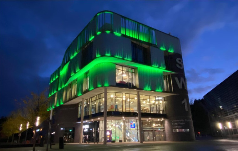 Southwater will be lit up green from tonight until Sunday to celebrate the borough's success. Photo: Telford & Wrekin Council