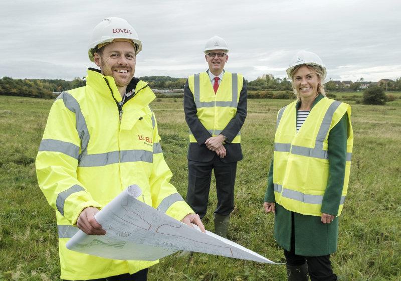 Stuart Penn, Managing Director at Lovell with Councillor David Wright, Cabinet Member Housing at Telford & Wrekin Council and Kate Callis