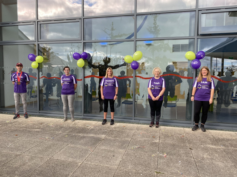 Runners who took part in the first ever virtual 2020 Virgin Money London Marathon celebrating at RJAH