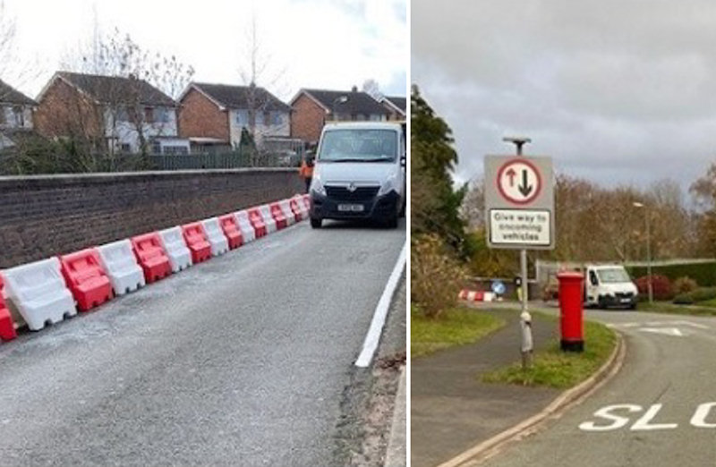 The barriers and new priority system in place at Belvidere Bridge. Photo: Shropshire Council