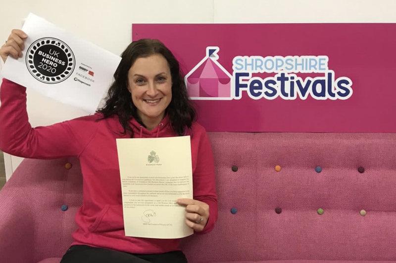 Beth Heath receiving Shropshire Festivals' UK Business Hero 2020 award