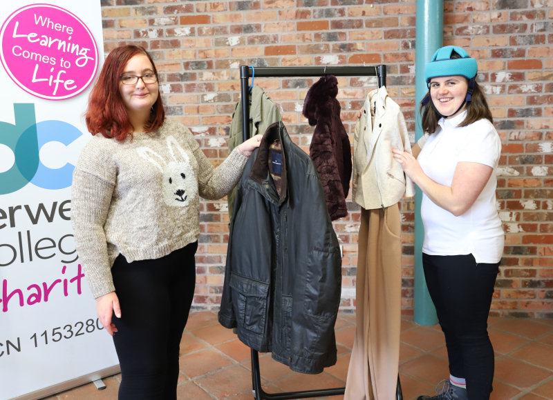 Retail students Courtney Battams and Libby Grigg have been sorting items ready for sale